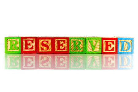 Reserved word reflection on white background