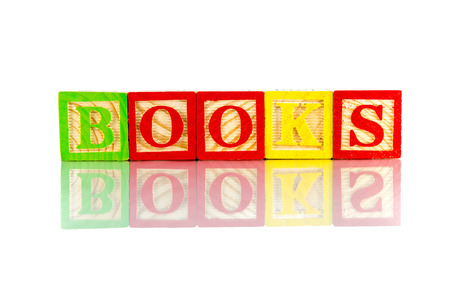 anglo saxon: Books word reflection on white background Stock Photo