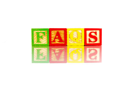 faqs: faqs word reflection on white background Stock Photo