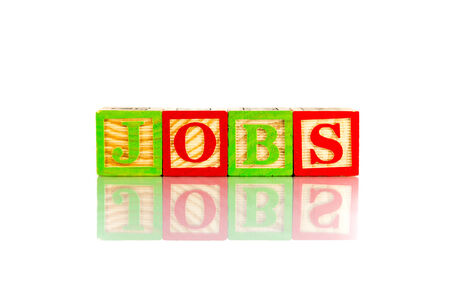jobs word reflection on white background
