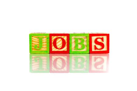 e recruitment: jobs word reflection on white background