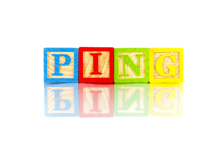 ping word reflection in white background photo