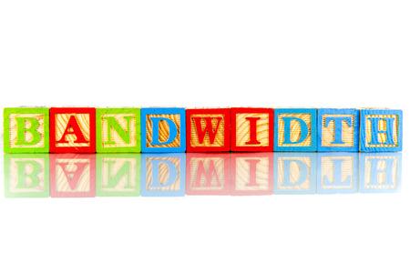 bandwidth: bandwidth word reflection in white background