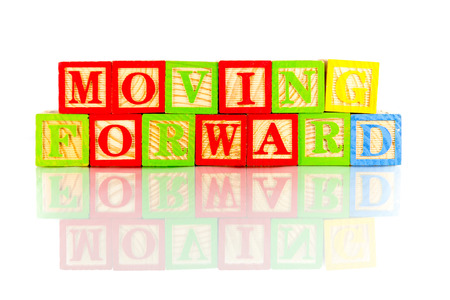 moving forward word reflection in white background photo
