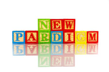 paradigm: new paradigm word reflection in white background Stock Photo
