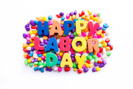 free stock photos: happy labor day word in colorful stones