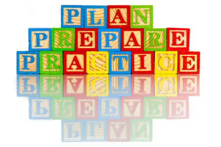 plan prepare practice words reflection in white background Stock Photo