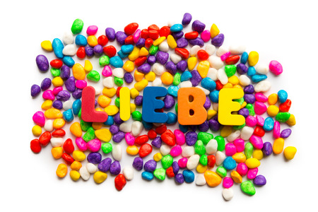 Liebe: liebe german word in colorful stones Stock Photo