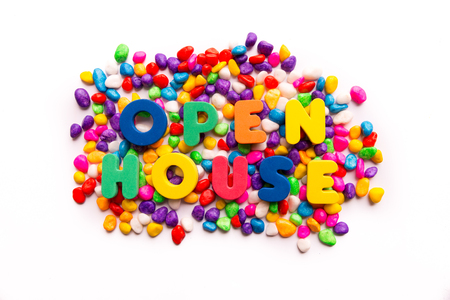 open house words in colorful stones photo
