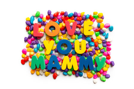 mammy: love you mammy word in colorful stone