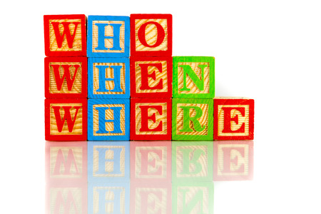whose: Who ,when, where reflection on white background