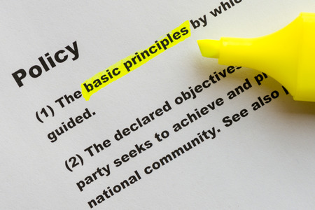 operational definition: The word Policy highlighted with yellow marker.