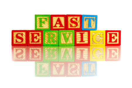 fast service words reflection on white background photo