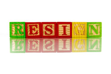 resign: resign word reflection on white background Stock Photo