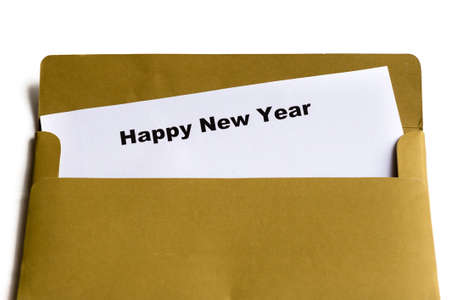 happy new year words in the envelope photo