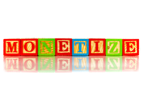 monetize: monetize word reflection on white background