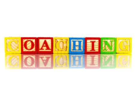 career coach: coaching colorful word on the white background