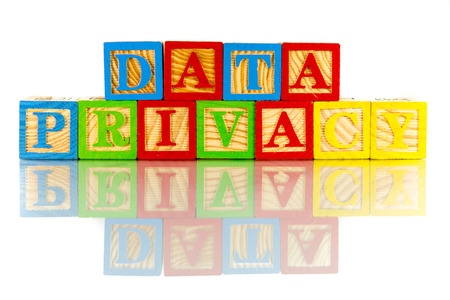 metadata: data privacy colorful word on the white background Stock Photo