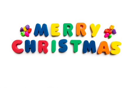 short phrase: colorful merry christmas word on the white background Stock Photo