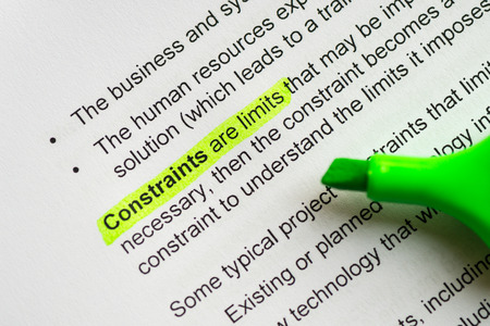 constraint: constraint are limits sentence highlighted by green marker