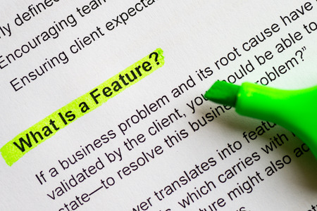 feature: what is a feature sentence highlighted by green marker Stock Photo