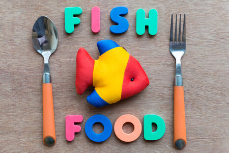 fish  food: fish food with spoon colorful word on the wooden background