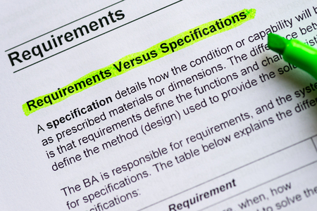 requirement versus specification sentence highlighted by green marker