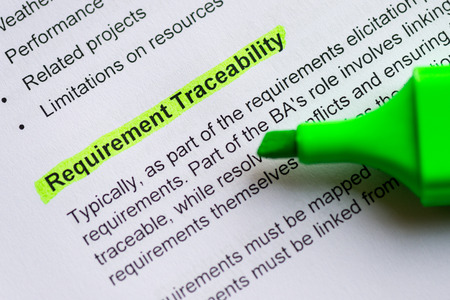 requirement traceability sentence highlighted by green marker