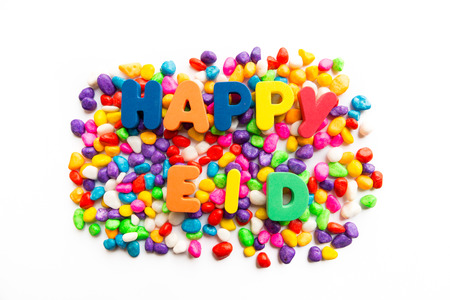 happy eid colorful word on the white background