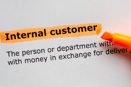 equivalent: internal customer words highlighted on the white background