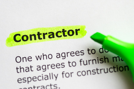 contractor word highlighted on the white background Standard-Bild