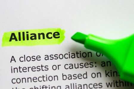 coalition: alliance word highlighted on the white background Stock Photo