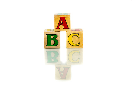alphabetical order: abc block colorful words on the white background Stock Photo