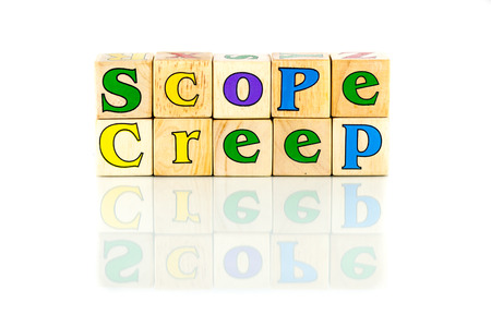 to creep: scope creep colorful words on the white background