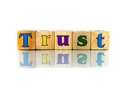 buzzword: Buzzword Cubes: Trust on the white background