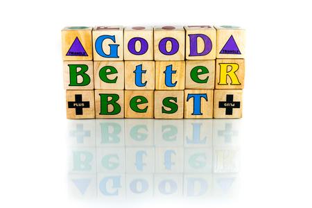 short phrase: good better best words on the white background