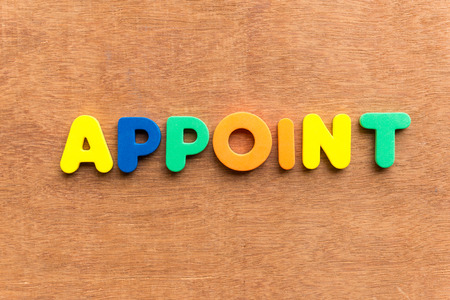 stock photograph: appoint colorful word on the wooden background Stock Photo