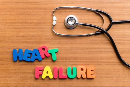 heart failure: heart failure colorful word on the wooden background