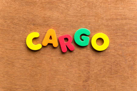 custodian: cargo colorful word on the wooden background