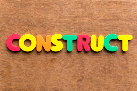 formulate: construct colorful word on the wooden background Stock Photo