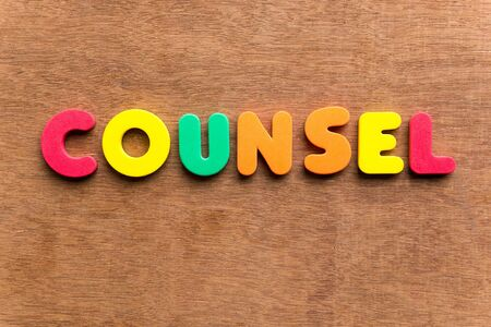 counsel: counsel colorful word on the wooden background Stock Photo