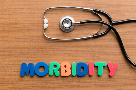 morbidity: morbidity colorful word on the wooden background