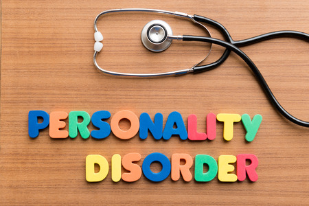 psychosis: personality disorder colorful word on the wooden background