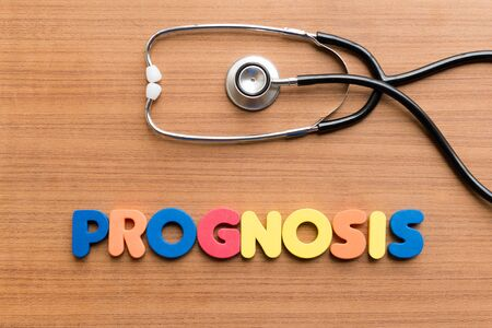 prognosis: prognosis colorful word on the wooden background Stock Photo