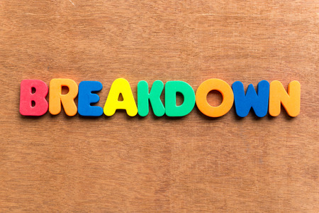 defines: breakdown colorful word on the wooden background