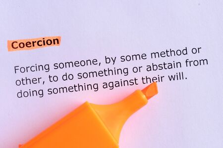 coercion: coercion word highlighted on the white paper