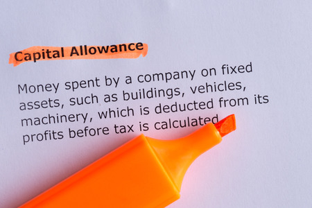 allowance: capital allowance word highlighted on the white paper