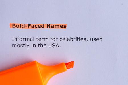 faced: bold faced names