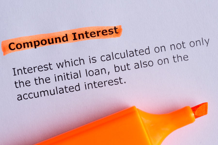 compound interest word highlighted on the white paper Standard-Bild