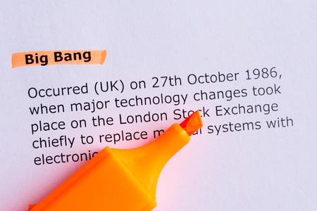 the big bang: big bang word highlighted on the white paper